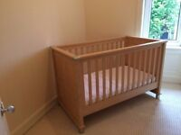 Nursery Furniture by Mamas & Papas. 4 items, Cot bed, Wardrobe, Tallboy, shelf and blue Accessories