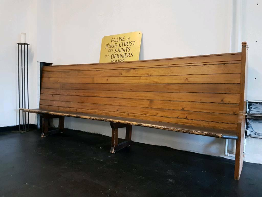 Gorgeous original pine church bench pew 3 metres long with unique high back (2 available)