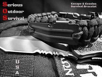 Paracord Escape & Evasion Survival Bracelet Handcuff Key / Flint Rod / Compass