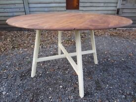 Gorgeous Solid Elm Ercol Drop-Leaf Extending Dining Table Painted Farrow & Ball