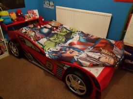 Boy's single size race car bed frame