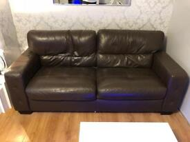 Now sold : £100 for 2 x Brown Leather Sofas for urgent sale