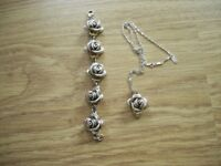 "925 STERLING SILVER ROSE BRACELET & ROSE NECKLACE 19"" CHAIN"
