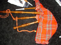 CHILDS BAGPIPES RED TARTAN COMPLETE