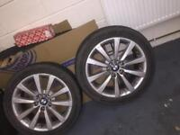 "4 X BMW Alloys/Wheels With Continental Run Flat Tyres 18"" 245/45/R18"