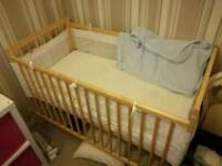 Cot, with mattress and sheets