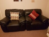Leather 2 seater sofa and 2 arm chairs