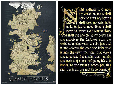 Game Of Thrones 2 Individual Posters  Map Night Watch Seven Kingdom Fantasy New