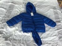 New boys age 3-4 years blue coat jacket shower proof with stuff sack