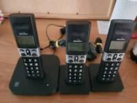 3 binatone cordless phones with answer machine