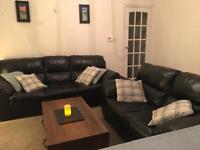 100% Genuine black leather 3&2 seater sofas. Nearly new condition - Bargain £350 for lot