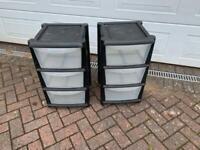 2matching plastic storage drawers