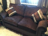 Sofa Bed (DFS) - As new - Dark Brown with Cushions
