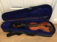 3/4 Violin with bow, case, shoulder rest, rosin and replacement strings
