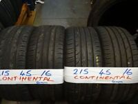 matching set 215 4516 continentals 6mm tread £50 pair supp & fitd £90 set of 4(LOADS MORE AV 7-DAYS)