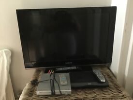 "Samsung HD 37 "" TV with HD Sky Box and DVD player"