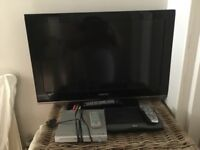 """Samsung HD 37 """" TV with HD Sky Box and DVD player"""