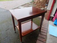Vintage 1960s Folding Card Table/Trolley - Original Green Baize - good condition