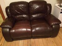 Brown leather sofa 3+2 seater