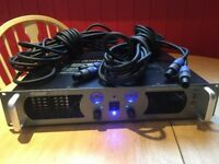 Prosound 1600 watts pro power amplifier with a set of speaker cables with speakon connections x x x