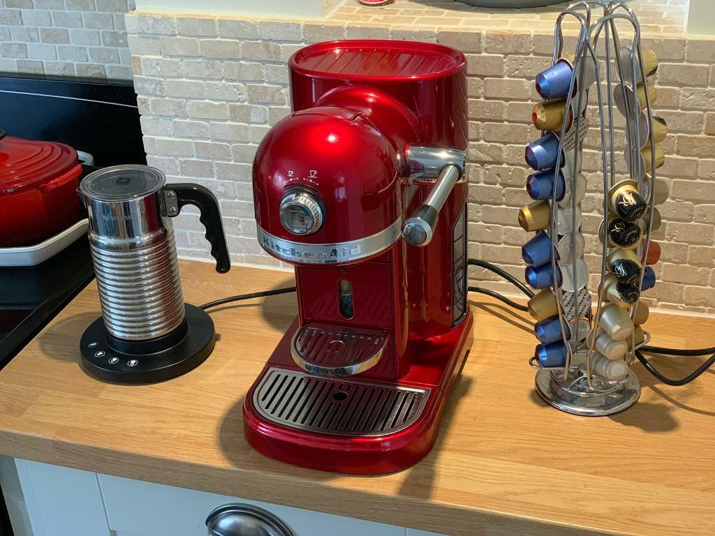 Kitchenaid Nespresso Coffee Machine Candy Apple Red Aeroccino 4 Pod Holder In Crawley West Sussex Gumtree