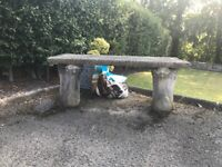 Stone Garden Bench with detailed stands & Seat