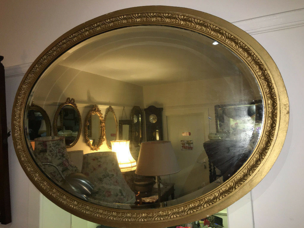 Beautiful Large Heavy Ornate Antique Oval Gilt Wood Frame Mirror With Bevelled Glass