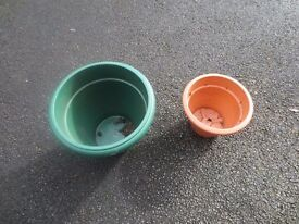 Large and Small Plastic Plant Pots