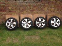 17'' GENUINE AUDI TT MK2 ALLOY WHEELS TYRES 5 SPOKE CADDY 5X112