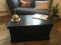 Vintage Pine Trunk Chest Coffee Table stirage