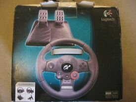 PLAYSTATION 3 OFFICIAL DRIVING FORCE GT.WHEEL, ACCELERATOR/BRAKE PEDAL & POWER SUPPLY. VIEW/DELIVERY