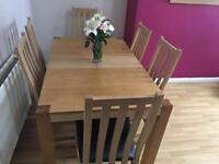 Good condition dining table and 6 chairs
