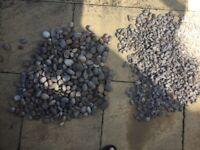 Decorative gray gravel and river pebbles