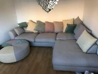 Left hand large corner sofa with foot stool