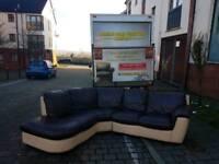 Italian leather corner sofa in cream and brown