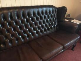 High Back brown Chesterfield 3 seater sofa/couch