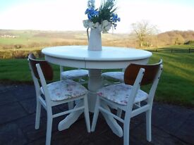 Round Extendable Table and four chairs - professionally re-furbished