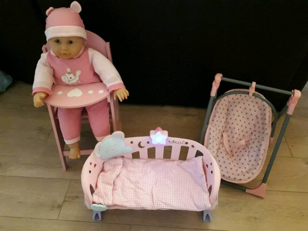 Girls Bundle Of Toys Dolls High Chair Bed Swing Baby Doll