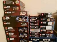 empty lego boxes.