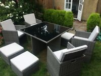 Ratan cube garden table chairs