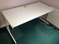 White computer desk. Sturdy with gap for cables