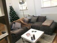 Grey L Shape Sofa with Large Stool