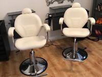 Selling salon chairs. Styling stations a hold set up for a salon.