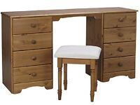 Brand New 8 Drawer Pine Dressing Table with Stool