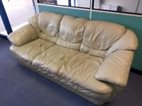 Three seater leather sofa in good condition free!