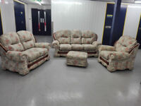 SALE Traditional 3 seater + 2 seater + chair+ footstool in perfect condition / free delivery 50miles