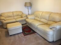 Cream 4 piece leather suite for sale