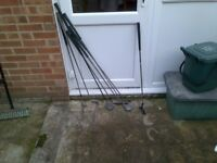 Assorted Golf Clubs and a Golf Trolley For Sale