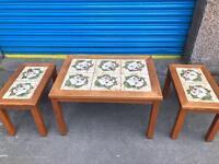 TRIO OF VINTAGE RETRO STYLE TILED COFFEE TABLES