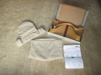 Stokke Tripp Trapp Baby Set in Natural wood colour (original wooden backrest, oatmeal seat covers)